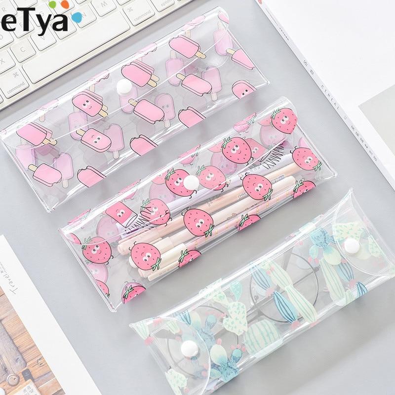 ETya Fruit Women PVC Eyewear Boxes Cute Protector Glasses Holder Bag Girl Cosmetic Pencil Brush Pouch Eyewear Accessories