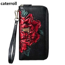 Купить с кэшбэком 2019 new female wallet genuine leather women wallets luxury brand clutch purse long floral ladies wallets and purses