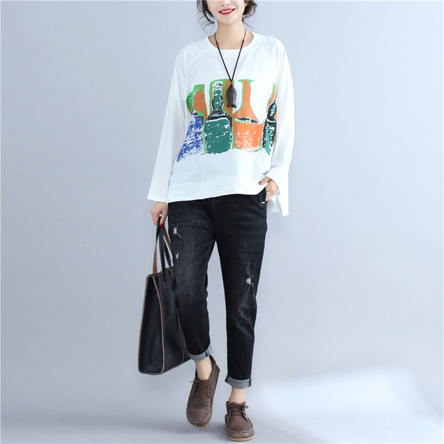 Women's Casual Plus Size Long Sleeve Cotton T shirt 2017 Autumn Lagenlook Loose Shirts Ladies Fashion Bottle Patterned Tops Tees 2