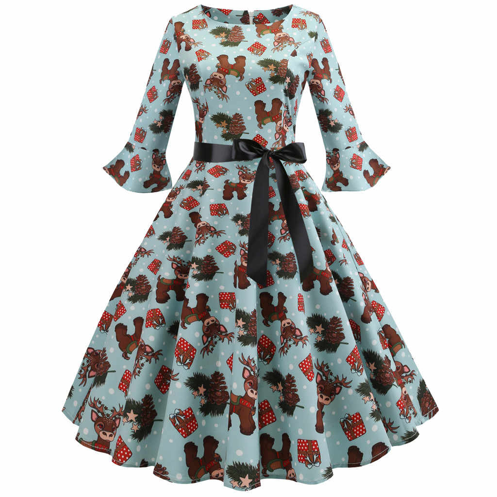 8f15647b7f7 Winter Women Dresses Casual Cute Three Quarter Sleeve O Neck Christmas Elk  Printed Vintage Gown Party