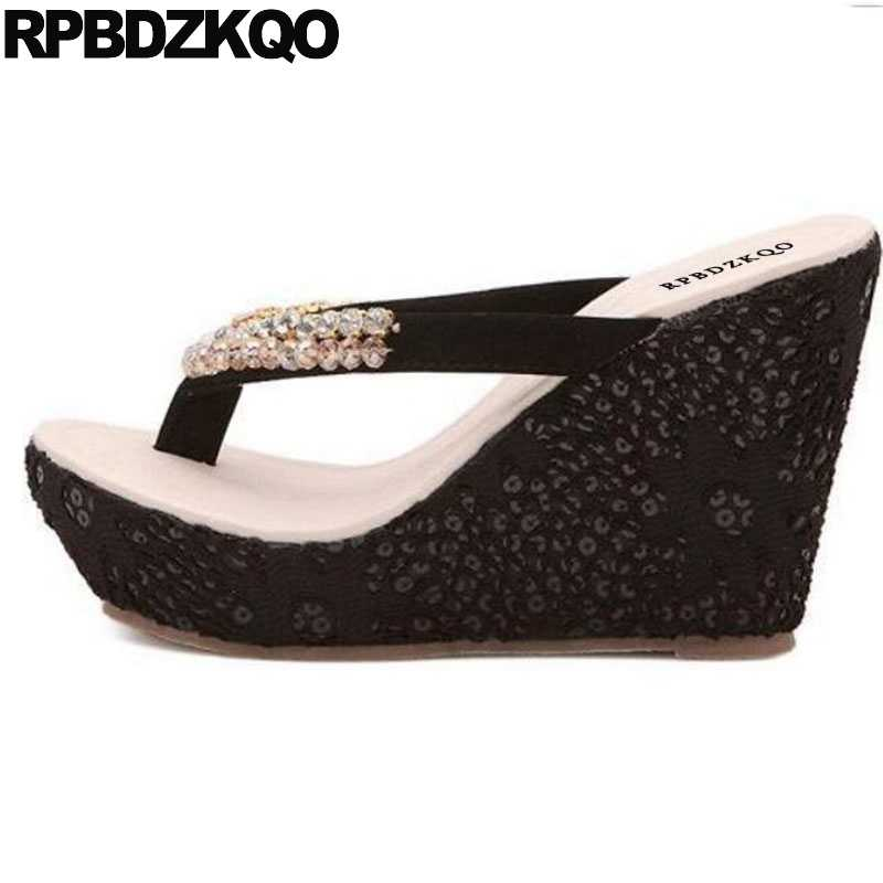 f3240e5f68ec Shoes Rhinestone Pumps Lace Wedge Sandals High Heels Platform Designer Slip  On Diamond Cheap Women Flatform