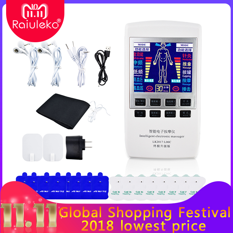 Full Body Relax Muscle Therapy Massager Pulse Tens Acupuncture Physiotherapy Machine Electrical Muscle Nerve Stimulator +18Pads xft 320a electrical stimulator tens healthcare physiotherapy pains relax smoothing electrical massager physiotherapy knee pads