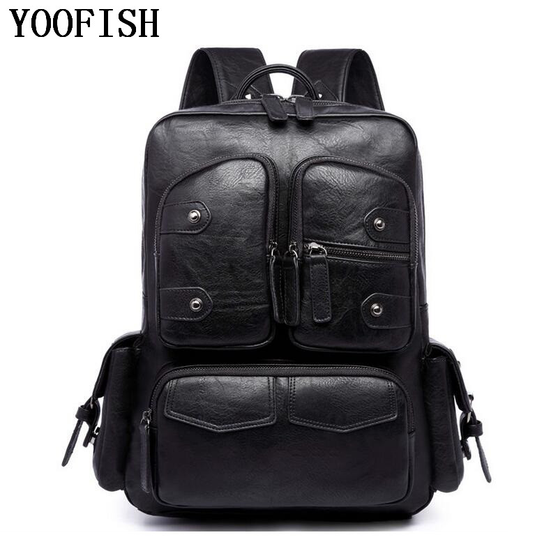 YOOFISH  2017 Male Functional bags Fashion Men backpack PU Leather backpack big capacity Men bags  Travel Backpack  LJ-0942 weibin male functional bags fashion men backpack big capacity pu leather men school backpacks for boys business travel mochila