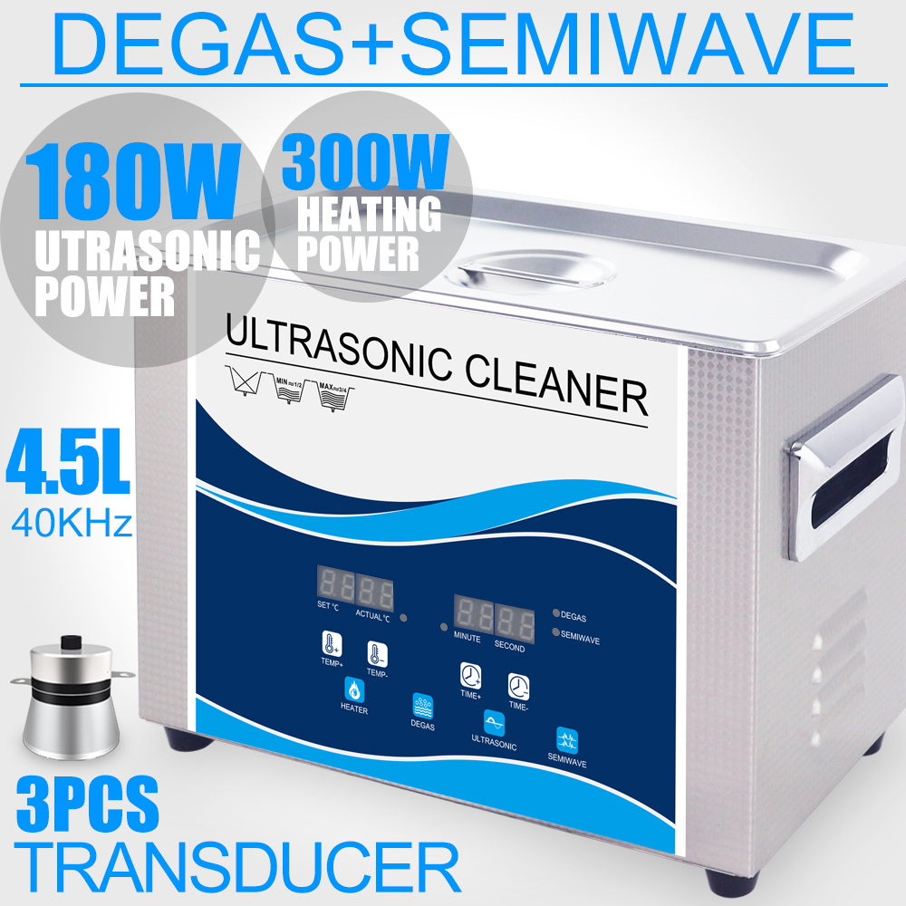 180W 4.5L Ultrasonic Cleaner SUS Bath 40KHZ Timer Heater Degas Jewelry Cell Phone Circuit Board Hardware Parts Dental Lab 15l ultrasonic cleaner bath 540w 40khz 110v 220v degas heater lab optical instruments screws nut dental tool hardware bearings