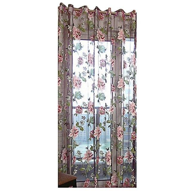 Heißer Lila Pfingstrose Blume Schlafzimmer Wohnzimmer Erker Balkon Decor Modern  Style Fenster Vorhang Fenster Bildschirme Heimtextilien
