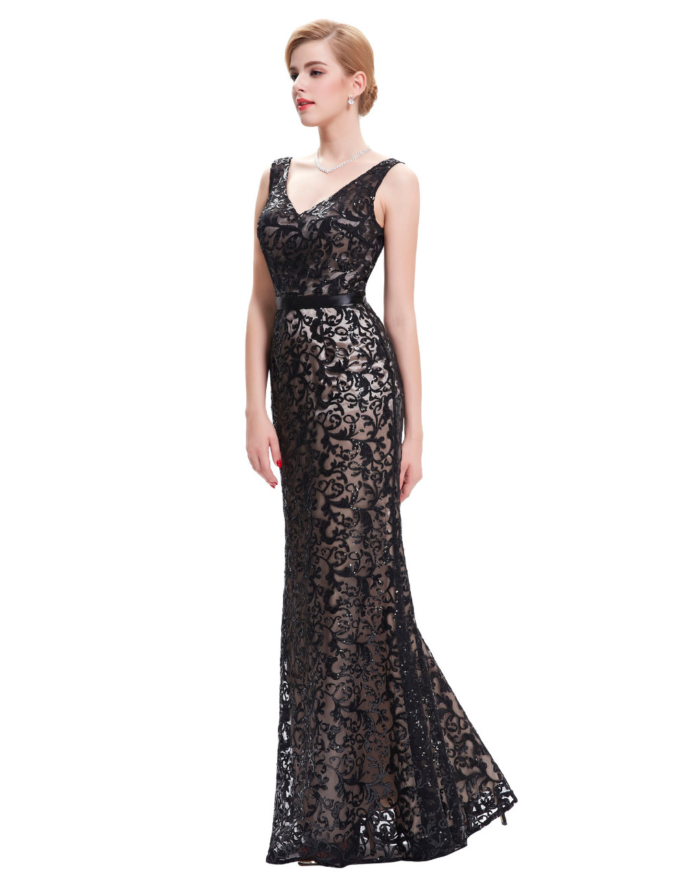 Long Evening Dress Kate Kasin Double V Neck Beaded Evening Gowns Lace Mother of the Bride Dresses Black Formal Prom Dress 0034 9