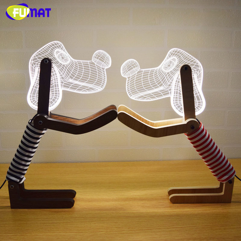 FUMAT DIY 3D Night Lamp New Creative Home 3D Dog Shape LED Night Light Bedside Living Room Decor Lights Acrylic White Light 3d luminous ice hockey player shape led table lamp 7 colors changing home living room decor light fixture baby sleep night light