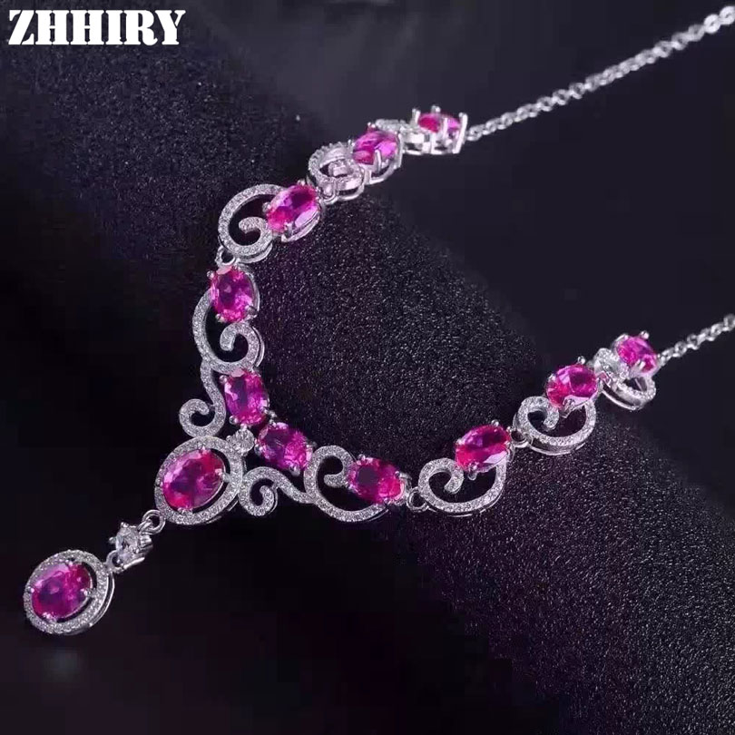 Women Natural Pink Topaz Necklace Pendant Genuine 925 Sterling Silver Gemstone Fine Jewelry ZHHIRY