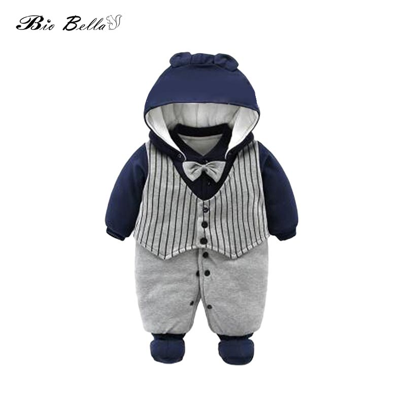 2019 Winter Fleece Baby   Rompers   Infant Thick Cotton Hooded Clothes Newbron Boy Girls Meninas Bear Down Snowsuit Babies Jumpsuits