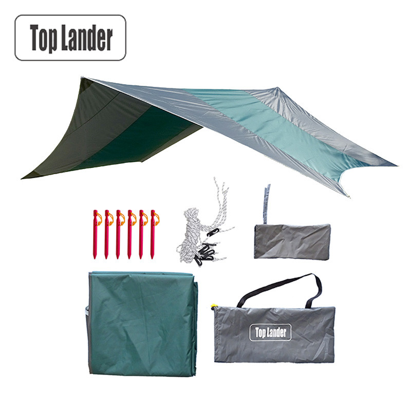 Ultra léger Camping Tente Bâches Imperméable Super Grand Hamac Pluie Fly Portable Auvent Auvent Tente De Plage Ombre avec Chevilles Cordes dans Abri du soleil de Sports et loisirs
