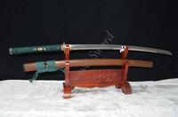 41 JAPANESE SAMURAI SWORD KATANA FULL TANG T10 Clay Tempered Unokubi Zukuri Blade HUALEE WOOD BULL HORN SHEATH HAND MADE CUSTOM
