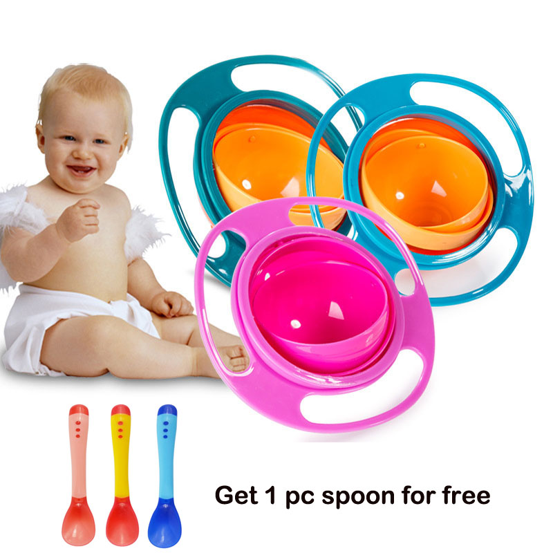Gyro bowl Infant Baby Solid Feeding Bowl Dishes Boy Girl Spill Proof Universal Rotate Technology Dinner Plate Baby Accessories X