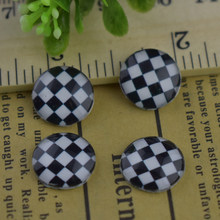 12mm 20pcs Round Glass Cabochons Art Cameo Ste Handmade embedded Plaid series 2(China)