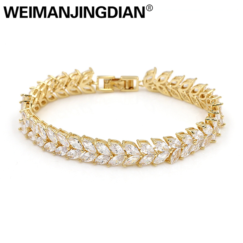 WEIMANJINGDIAN Shinning Marquise Cubic Zirconia Crystal Bridal CZ Wedding Zircon Tennis Bracelets for Women Jewelry Gifts weimanjingdian brand sparkling cubic zirconia cz crystal zircon flower necklace and earring wedding bridal jewelry sets