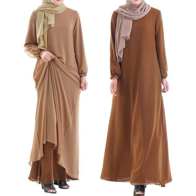 Muslim Women Wear On Both Sides Dubai Abaya Maxi Dresses Islamic Clothing Women Casual Long Sleeve O-Neck Casual Dress a417 2