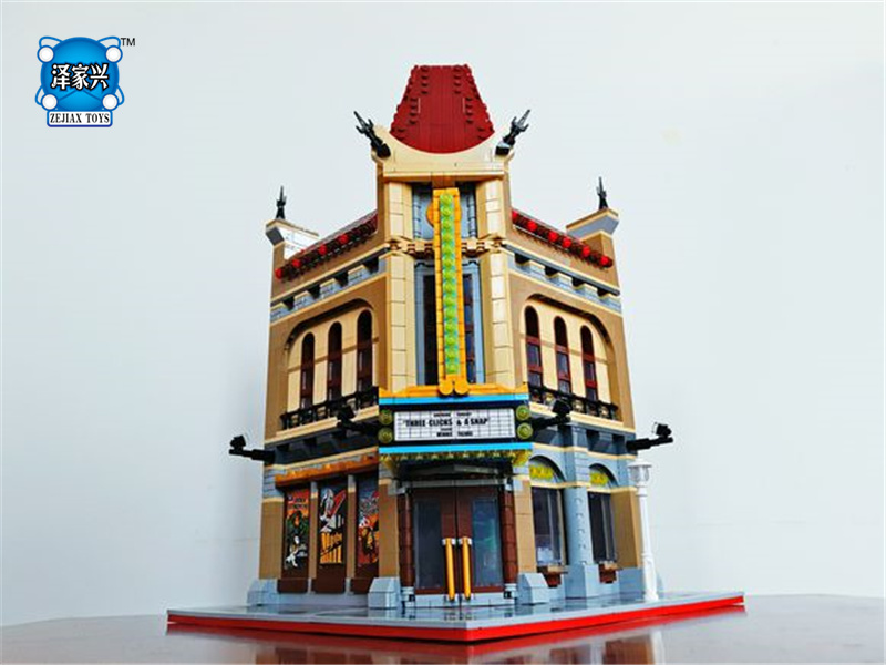 City Street Palace Cinema Model Building Blocks Set Bricks Compatible with Lepins Educational Gift Toys Bricks Figures Gift hot city series the new police station set children educational lepins building blocks bricks figures boy funny toys model gift