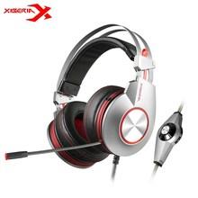 Xiberia K5 USB Игровые наушники 7.1 вибрации гибкий глубокий бас свет Over-Ear игровой гарнитуры с микрофоном для PC Gamer