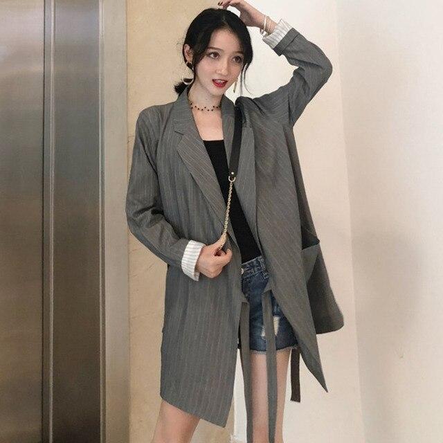 LANMREM Hàn Quốc năm 2018 Bộ quần áo bé gái sọc full tay cổ bẻ eo điều chỉnh thắt lưng Phù Hợp Với Áo Khoác Form Rộng Người Phụ Nữ OL WB71602XL