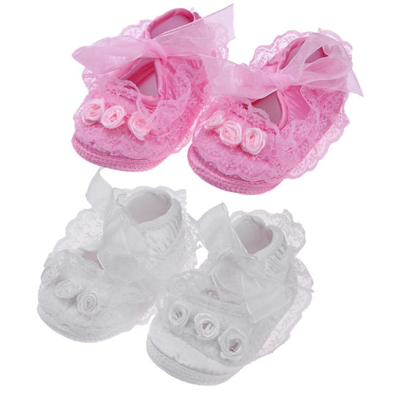 Spring Baby Girls Princess Shoes Infant Toddlers Soft Sole Anti-Slip Flower Lace First Walkers Cute Newborn Shoes Baby Moccasins