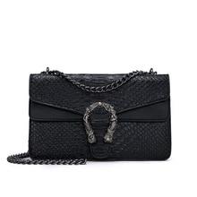 Модная брендовая женская сумка из искусственной кожи под змеиную кожу, дизайнерская сумка через плечо с цепочкой, женская сумка через плечо, женская сумка