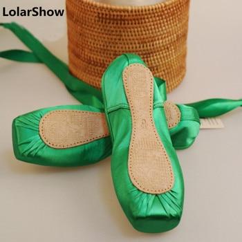 Green Shoes Women Ballet Dance Pointe Dance Shoes