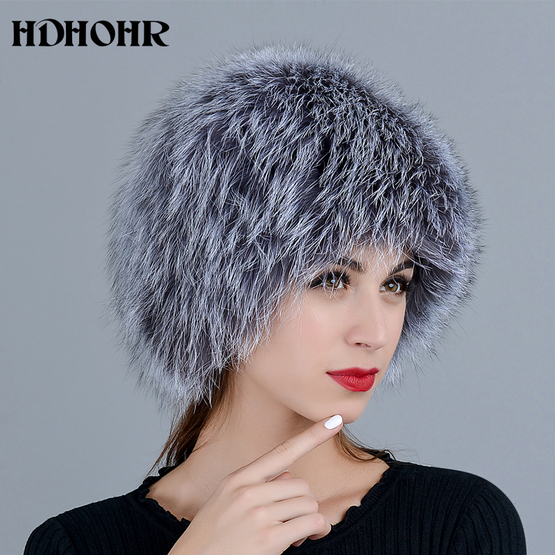 HDHOHR 2018 Hot Sale 100% Real Silver Fox Fur Hat Women Real All Fur Cap Fox Fur Knitted Hats Female Thick Warm Headwear Hats