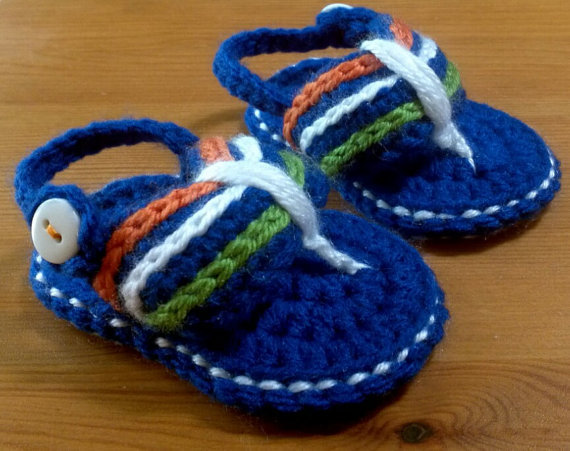 de39c4ba15a0e Crochet baby sandals, hand crochet gladiator sandals , baby stripe slippers  ,baby boys shoes Christening gift size:9cm,11cm