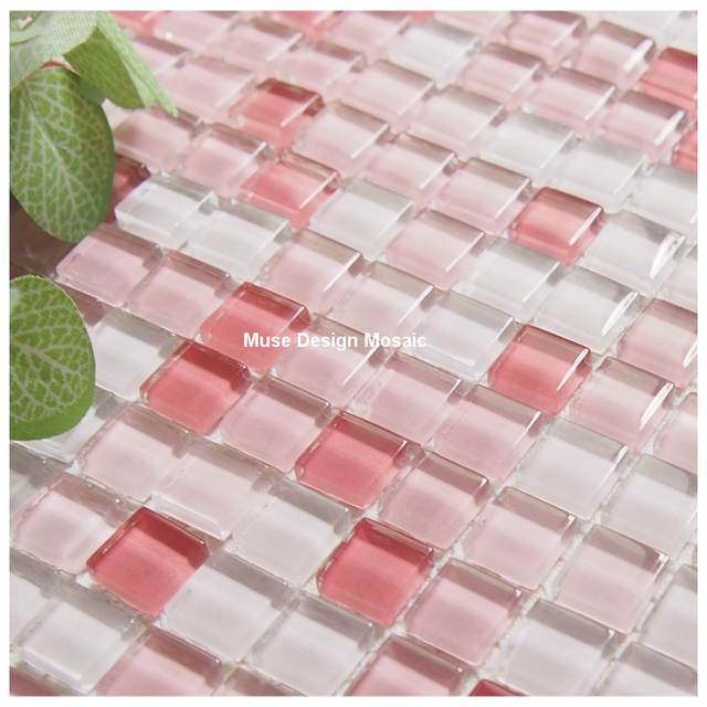 Romantic Pink White glass mixed white mosaic tiles for living room ...