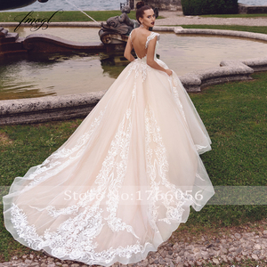 Image 2 - Fmogl Sexy Backless Cap Sleeve Princess Wedding Dresses 2020 Luxury Appliques Lace Court Train Vintage A Line Bridal Gowns