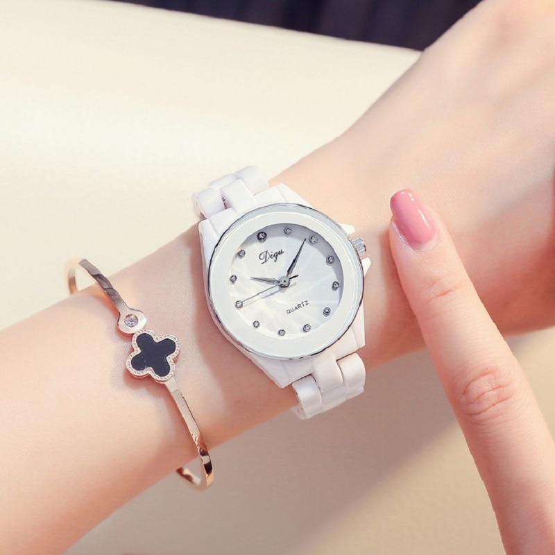 Relojes Mujer Women White Ceramic Wristwatch Bracelet Quartz Watch Woman Ladies Watches Clock Female Fashion Women Watches