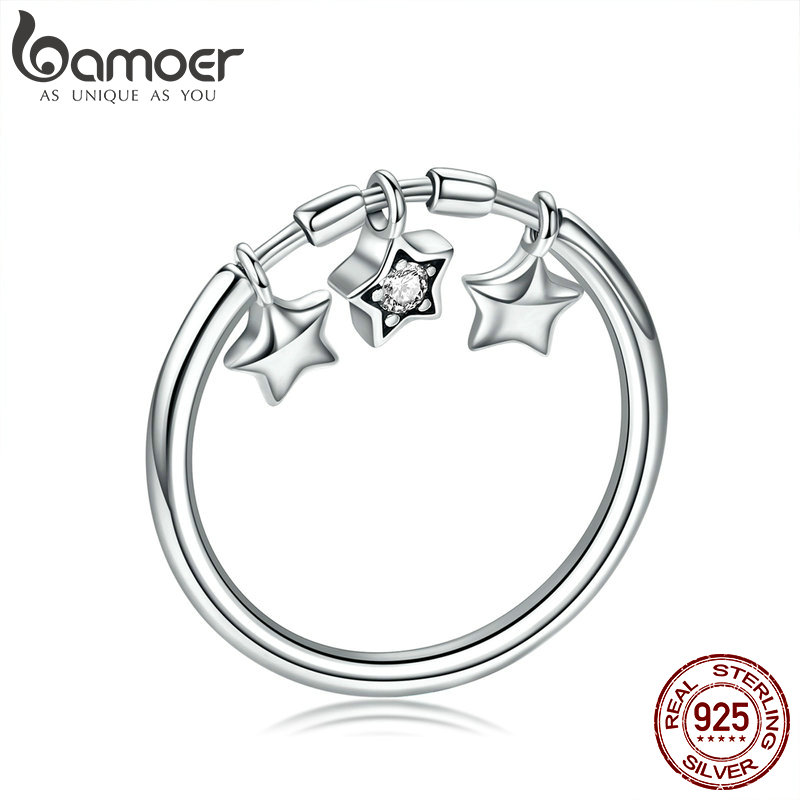 BAMOER 100% 925 Sterling Silver Fashion Sparkling Dangle Star Finger Rings for Women Wedding Engagement Ring Jewelry SCR406 цена 2017