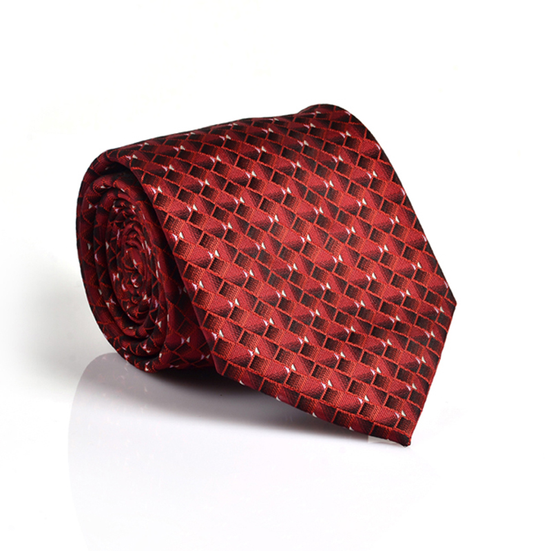 Mens 100% Jacquard Woven Red Neckties 8.0 Width Classic Tie Man Formal Wedding Party Groom Necktie Wholesale Free Shipping