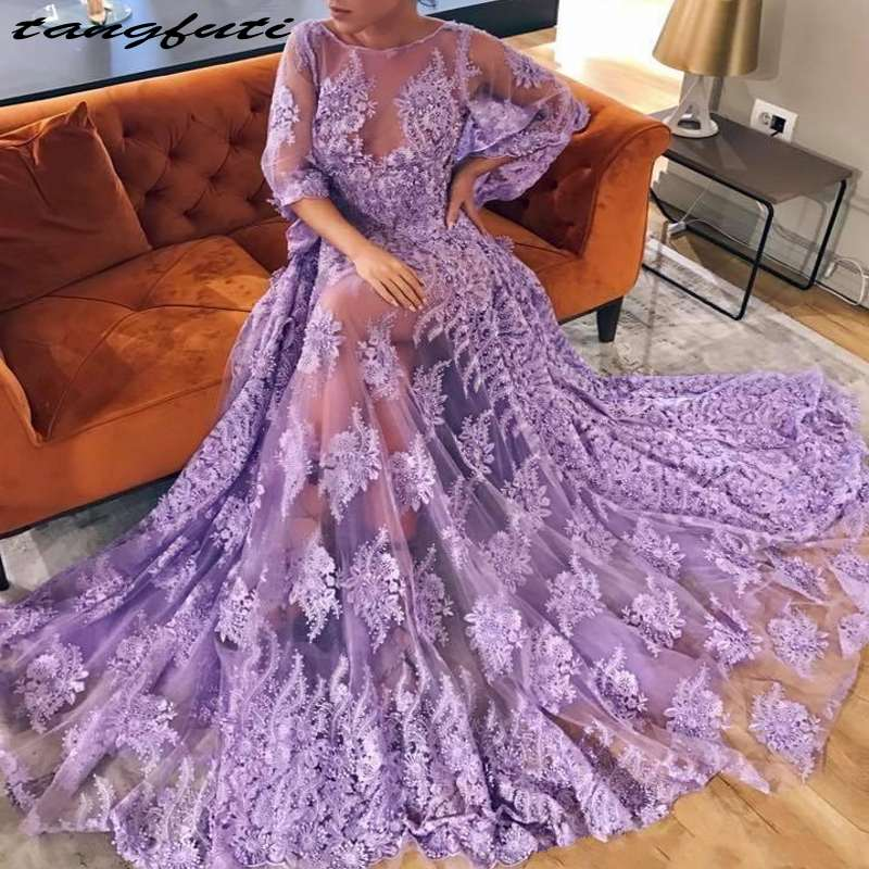 Sexy Lavender Backless Prom Dresses Lace Appliques Formal Evening Gown Plus Size A Line Prom Dress vestido de festa