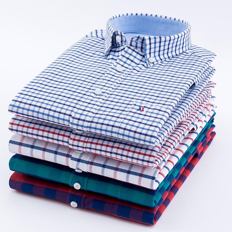 Long Sleeve 100%  Cotton Oxford Dress Shirt Men Social Mens Plaid Casual Shirt Male Striped Work Shirts Solid Color Plus Size 5X
