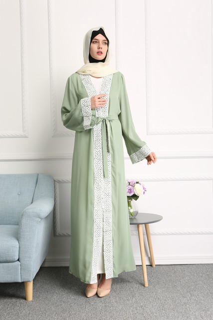ba3b3ddcf1d41 Women Muslim Dress Cardigan Robe Arabe Caftan Abaya Dubai Long Lace Turkish  Islamic Clothing Middle East Abaya