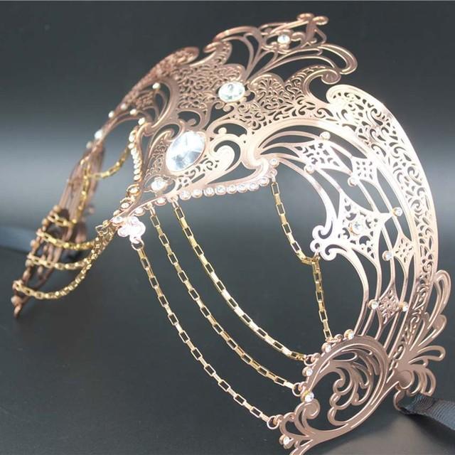 Women Chain Venetian Metal Laser Cut Mask