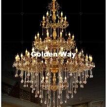 Люстра из сплава большой Элегантный латунный Цвет Кристалл подвесной светильник для отеля ресторан фойе Домашний Светильник s