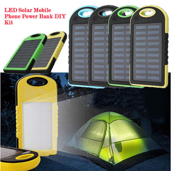 Outdoor Travel Dual USB Solar Mobile Phone Power Bank Case Charger DIY Kit with LED Light 180111 free shipping