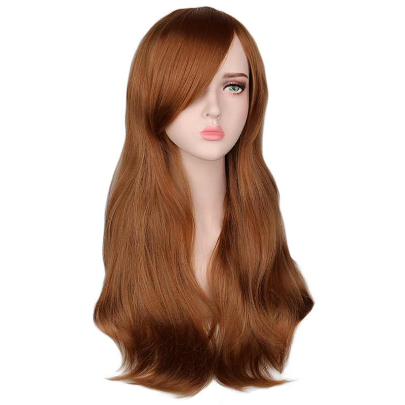 QQXCAIW Women Long Wavy Cosplay Wig Red Rose Pink Black Blue Sliver Gray Brown 70 Cm Temperature Synthetic Hair Wigs