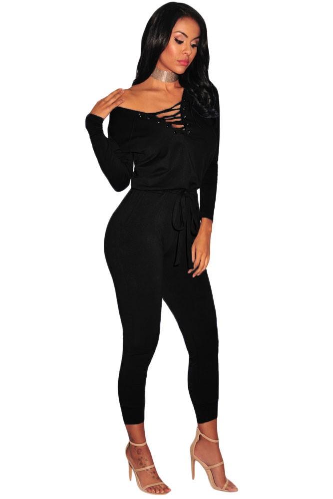 Black-Grommet-Lace-Up-Long-Sleeve-Jumpsuit-LC64223-2-2