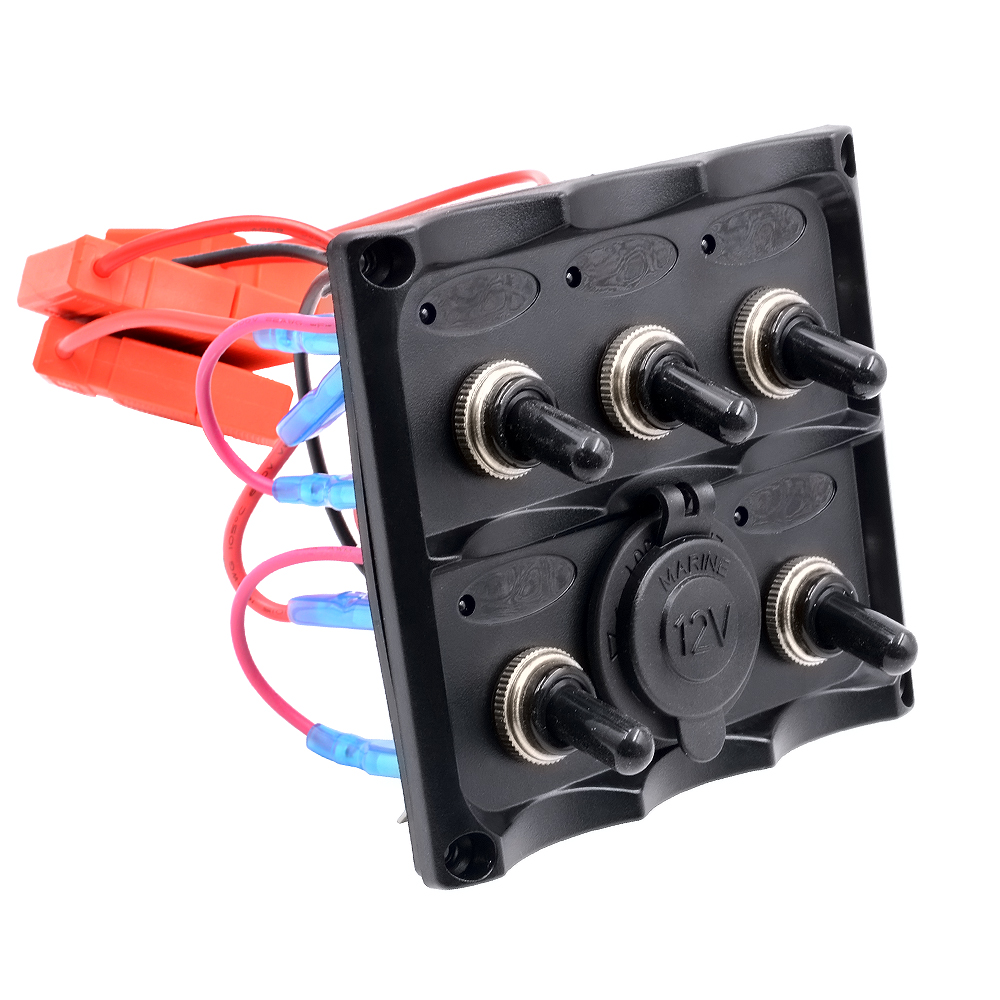 Marine Electric Blue Led Toggle Switch Panel 5 Gang With 2v Panels Rocker Switches Other Relays Cigarette Socket 12v In Car From Automobiles Motorcycles On