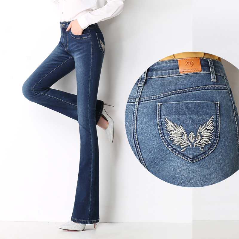 Autumn and winter new waist high waist   jeans   women wear white stretch large size Slim bell-bottoms with thin trousers