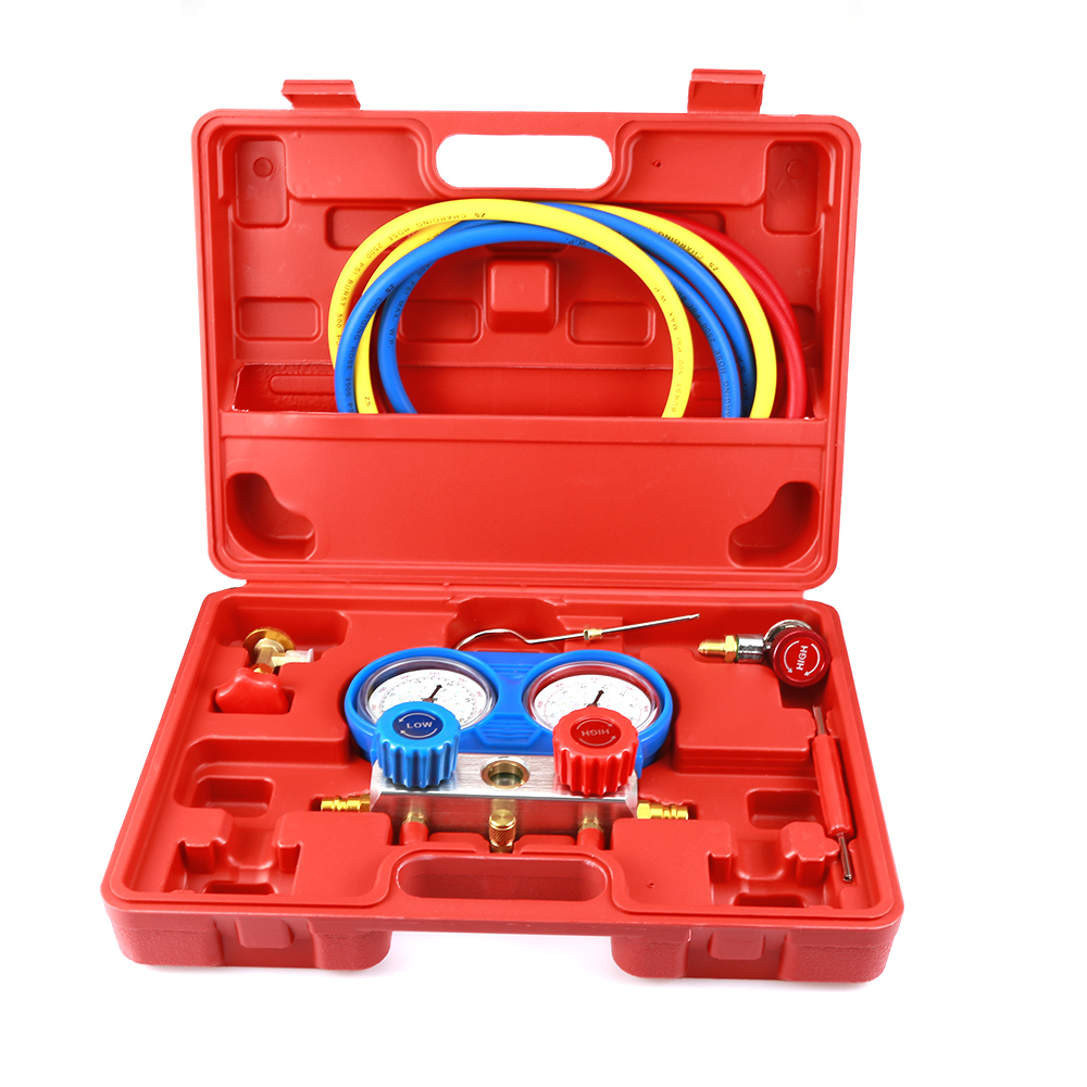 A / C Air Conditioner Refrigerant Manifold Gauges Tool Set Tables Colored Hoses Double Table Valve Car Styling Refrigerant Test