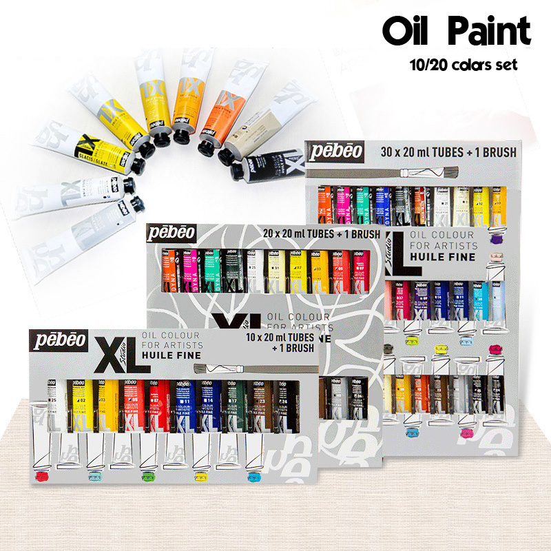10/20 Colors 20ML Tube Pebeo Oil Paint Sets Professional Oil Colors Paint For Artist Drawing Acrylic Painting Color Art Supplies