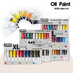 10/20 kolorów 20ML Tube Pebeo zestawy farb olejnych profesjonalne kolory farby olejnej na rysunek artystyczny malarstwo akrylowe kolor dostaw sztuki w Farby olejne od Artykuły biurowe i szkolne na