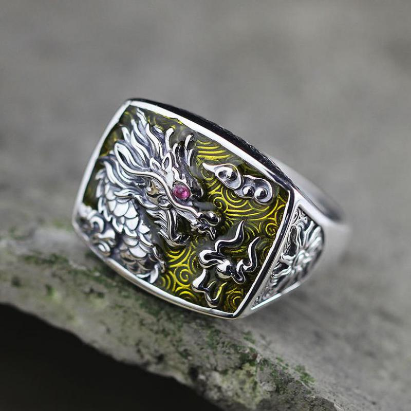 Real Pure 925 Sterling Silver Dragon Rings For Men And Women Cz Stone Setting Vintage Hollow Design Enameling Process