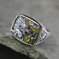 Real Pure 925 Sterling Silver Dragon Rings For Men And Women Cz Stone Setting Vintage Hollow
