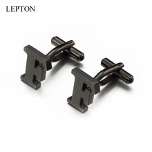 Lepton Stainless steel Letters F Cufflinks for Mens Black & Silver Color Letters F of alphabet Cuff links Men Shirt Cuffs Button igame letters cufflinks silver color fashion english letters design 26 letters copper material free shipping