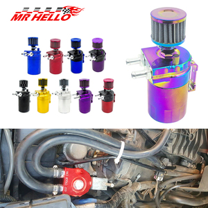 New Baffled Aluminum Oil Catch Can Reservoir Tank / Oil Tank With Filter Universal