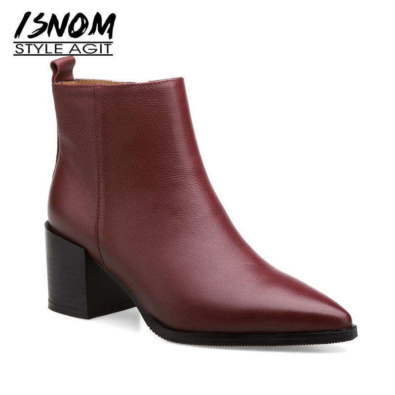 ISNOM Genuine Leather Women Ankle Boots Pointed Toe Zip Footwear Thick High Heels Female Boot New Shoes Women 2020 Winter